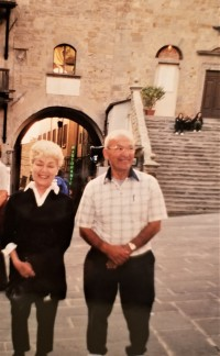 My mom and Uncle Charlie in the piazza in Cortona, 2003. The next day, Uncle Charlie drove us around Tuscan wine country. He was a great tour guide.
