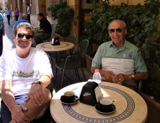 Cousin Ted and Uncle Charlie at a café in Agrigento.