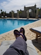 That's me, chilling in the sun, on the day I arrived in Puglia.