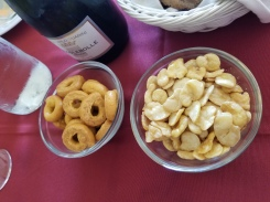 On the left are the highly-addictive and oh so delectable taralli. The right are crunch fava beans.