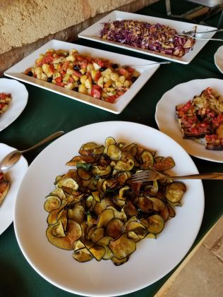 Buffet lunch at the masseria. That's eggplant. So good! (photo by Melanie Friedlander)