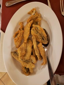 Fried anchovies at dinner.