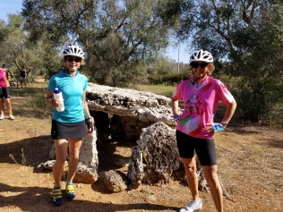Julie and Laurie in front of the Dolmen Placa.