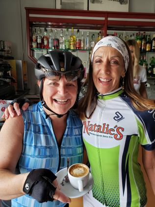 Melanie and Mindy at the first coffee stop.