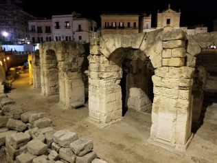 Roman ruins in the historic center of the city of Lecce.