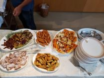 The buffet included fried zucchini flowers, foccacia, rice with shrimp, foccacia with chicory, eggplant and pototoe croquets.