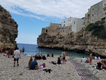 The rocky beach of Polignano a Mare.