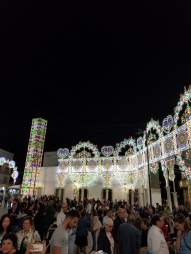 More lights in the center of Alberobello during the Feast of the city's patron saints