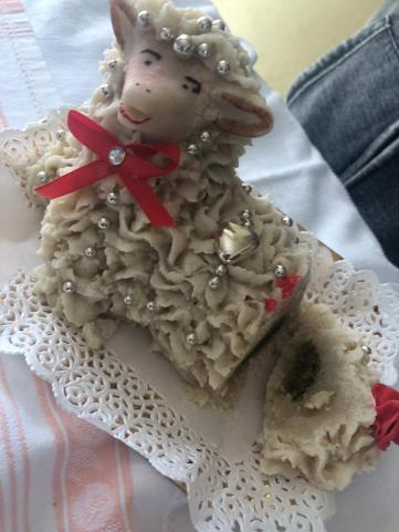 A marzipan (almond paste) lamb.